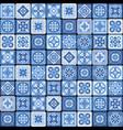 blue portuguese ceramic mosaic tile floral vector image