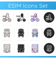 car sharing and rental service icons set vector image vector image