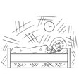 cartoon of woman lying in bed and unable to sleep vector image