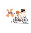 cartoon woman rides a bike vector image vector image