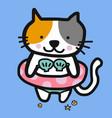 cat wearing shell bikini and swim ring for summer vector image