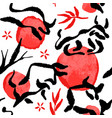 chinese new year ox seamless pattern ink animal vector image vector image