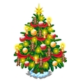 Christmas tree with balls candles and gingerbread vector image vector image