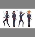classic ninja warrior samurai in mask vector image