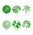 collection of abstract green globe icons and symbo vector image vector image