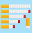 colored flat design cigarette set orange filter vector image vector image