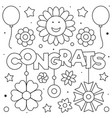 congrats coloring page black and white vector image vector image
