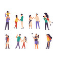 couples characters cartoon boy and girl on date vector image
