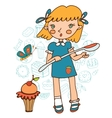 Cute girl with a huge cupcake holding a big spoon vector image