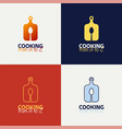 cutting board with spoon logo set cooking vector image