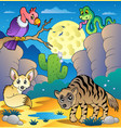 desert scene with various animals 2 vector image