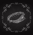 dish with fish icon drawn chalk vector image
