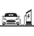 Electric car and filling station vector image vector image