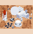 extraterrestrial base isometric composition vector image vector image