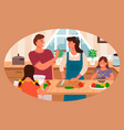 family cooking in kitchen parents and kids at home vector image vector image