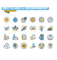 flat line colorful icons collection environment vector image