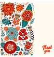 Floral card design flowers and leaf doodle vector image vector image