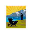 Fly fisherman fishing lake mountains chair vector image vector image