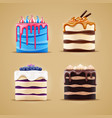 four cakes with blueberry meringue caramel vector image vector image