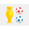 golden cup and soccer balls web emoticons vector image vector image