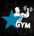 gym athlete with dumbbells vector image vector image