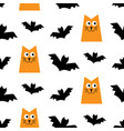 halloween seamless pattern with cats and bats vector image vector image