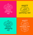 happy 8 march women day doodle set girl in nature vector image