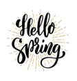 hello spring hand drawn motivation lettering vector image