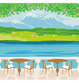landscape with mountains and cafe tables vector image