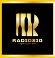 letter r logo - radio signal vector image