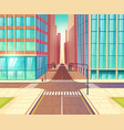 modern city empty crossroads cartoon vector image vector image