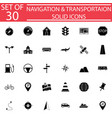 navigation solid icon set transport signs vector image