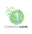 number one logo blue green yellow particles vector image vector image