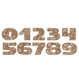 Numbers decorative set with a paisley zen doodle vector image