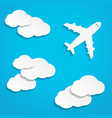 paper flying plane in clouds vector image
