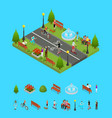 park activity in city and elements part isometric vector image vector image