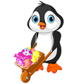 Penguin with Easter wheelbarrow vector image vector image