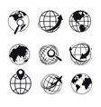 planet isolated icons search or geolocation vector image