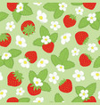 repeat floral print with strawberries and vector image
