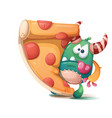 savory pizza with sausage and monster - cartoon vector image vector image