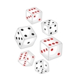 set casino white dice falling down vector image vector image