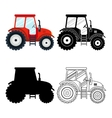 Set of flat red black thin line tractors on the vector image vector image