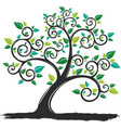 silhouette tree with roots vector image