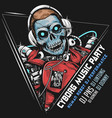 skull dj music robot cyborg android machine vector image
