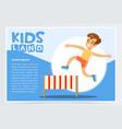 smiling sportive boy jumping hurdle kids land vector image vector image