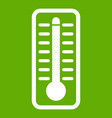 thermometer indicates high temperature icon green vector image vector image