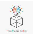 think outside the box on new business idea concept vector image