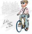 trendy hipster bearded guy on a bike vector image vector image