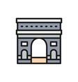 triumphal arch france landmark flat color vector image vector image