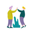 two guys giving high five to each other male vector image vector image